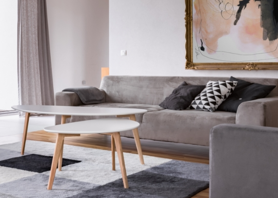 Grey Couches with Unique Gray Table Set
